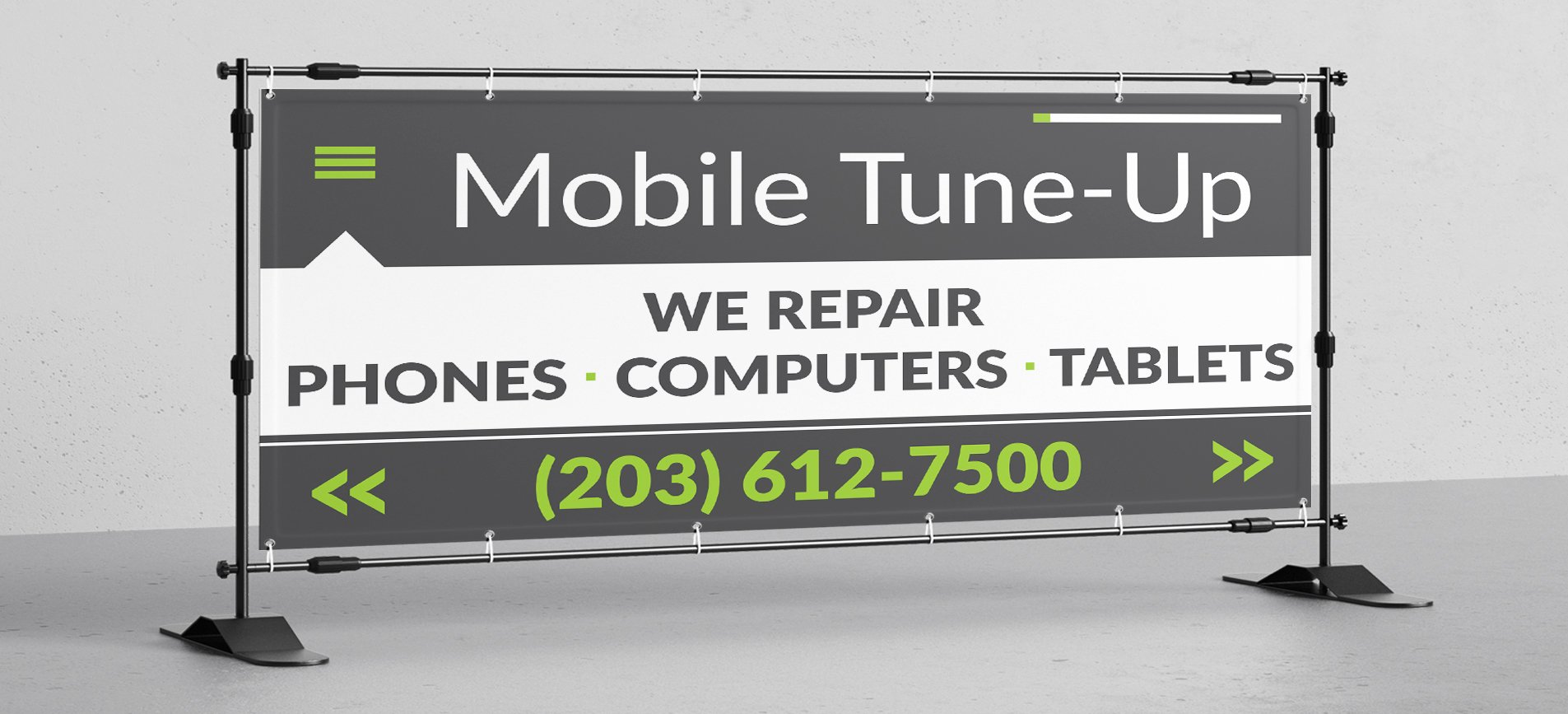 wb WE REPAIR CELL PHONES TABLETS COMPUTERS Vinyl Banner Sign 3x8